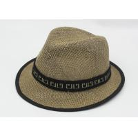Buy cheap Summer Man Straw Fishing Bucket Hat Cap Brown 58cm With Ribbon from wholesalers