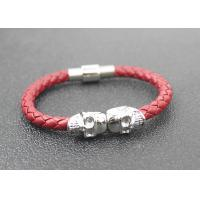 Skull Braided Woven Leather Bracelet With Stainless Steel Magnetic Buckle Manufactures