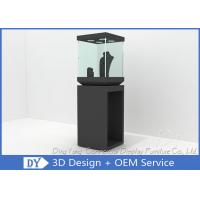Modern Black Wooden Glass Jewelry Tower Display Cases For Window Display Manufactures
