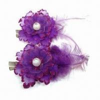 Flower Brooches/Hairpins, Decorated with Feather, Available in Various Designs and Colors Manufactures