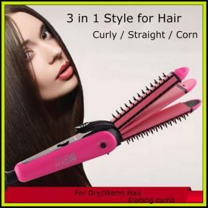 NHC-8890 Electric 3 in 1 Hair Straightener Hair Stick Hair Curler Hair Trimmer Hair Clipper Manufactures