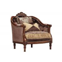 Brown Velvet Upholstered Wooden Sofa Designs American Style Manufactures