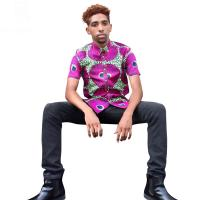 Men African Print Tops , Short Sleeve Print Top Shirts Spring / Summer / Autumn Manufactures
