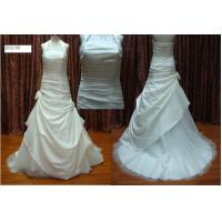 Quality Halter Neck A-line Floor Length Sleeveless Real Samples Wedding Dress With Sweep Train for sale
