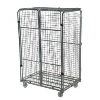 Quality Lockable Wire Mesh Roll Container With Wheels For Merchandises Storage for sale
