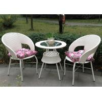 White 2 Rattan Chairs With Table , Outdoor Coffee Shop Furniture Manufactures