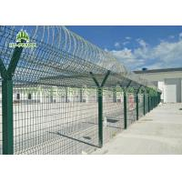 Airport Anti - Aging Welded Mesh Fence , Green PVC Coated Wire Mesh Fencing Manufactures