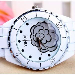 China Ceramic Quartz Analog Metal Digital Watch Water-resistance , Flower Design on sale