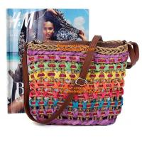 Fashion Women Straw Bag Weaving Bucket Style Travel Beach Shoulder Bags Charming Rainbow Manufactures