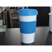 400 ml porcelain travel coffee mug with silicone lid and band Manufactures