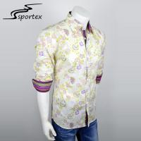 China Roll Up Sleeve Men Woven Casual Shirts Button Printed Fashion Shirts With Collar on sale