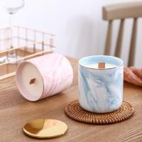 Luxury Home Scented Candles Ceramic Marble Wooden Wick Candle Jars With Metal Lids Manufactures