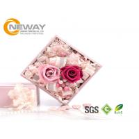 China Flower Gift Box , Pink Rose Waterproof Square flower paper box for Saint Valentine's Day on sale