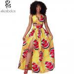 Sexy Halter Neckline Short Top African Print Dresses Maxi Ankara Wax Batik Printing Manufactures