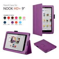 Leather Flip Protective Case For Nook , With Built-In Light Classic Stand Style