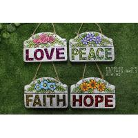 Portable Household Ceramics , Cement Garden Decoration With Wording Love Peace Faith Hope Manufactures