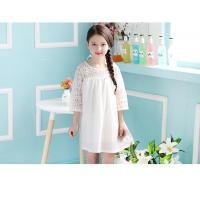Quality Angou New children clothes girls beautiful lace dress white baby girls dress for sale