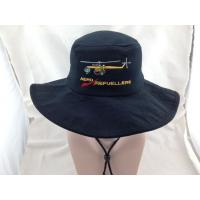 China Large Brim Navy Blue Heavy Brushed Cotton Bucket Hats with Embroidery on sale
