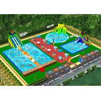 China OEM On Land Inflatable Water Playground / Aqua Slide Park 3 Years Warranty on sale