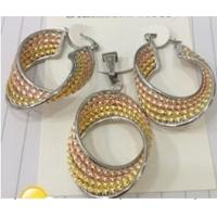 Three Tone Pendant and Earrings Fashion Jewelry Sets for Women Manufactures