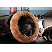 Brown Super Fuzzy Steering Wheel Cover , Real Soft Fur Car Accessories Wheel Covers  Manufactures