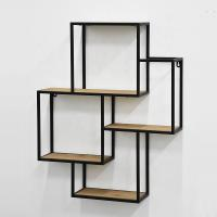 Antique Rustic Metal Wall Display Rack , Wooden Wall Mounted Display Shelves Manufactures
