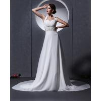 Elegant around the neck Chiffon Wedding Dresses with open back / cathedral train Manufactures
