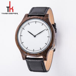 China Custom Wood Minimalist Leather Watch Japan Miyota 2035 Movement on sale