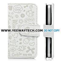 Embossed Cute Cartoon Wallet Style Leather Case For iPhone 4S - White Manufactures