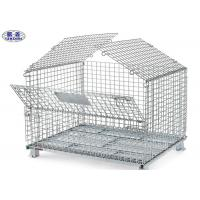 China Transport Wire Mesh Pallet Cages , Welded Steel Mesh Storage Cages With Cover on sale