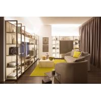 Customized Size Walk In Closet Systems Metal Bracket Wardrobe TV Cabinet Modern Style Manufactures