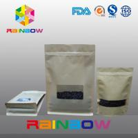 China Box Bottom Customized Paper Bags With Rectangle Window Ziplock / Flat Bottom Paper Bag on sale