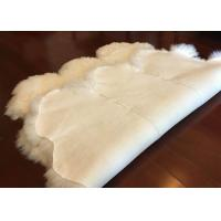 Quality Ivory White Fur Living Room Rug 6 Pelt , 5.5 X 6 Ft Bedroom Sheepskin Rugs for sale