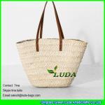 LUDA leather handles straw handbags wholesale cornhusk straw handbags Manufactures