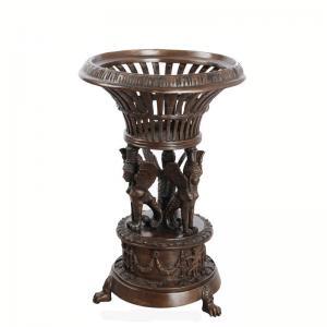Antique Golden Cast Iron Flower Pots Powder Coated For Garden Decoration Manufactures