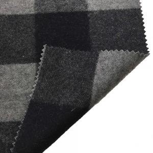 5.5cm Checked Fake Tartan Wool Fabric / Melton Wool Fabric For Fashion Coat Manufactures