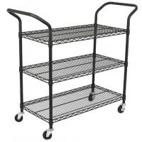 China Custom Size Wire Utility Cart With Wheels / 3 Shelf Metal Utility Cart on sale