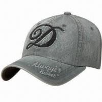 China Washed Denim Baseball Cap with Sequin Embroidery in Front and Metal Closure at Back on sale