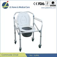 """China #JL696L – Aluminum Lightweight Folding Commode Chair With Plastic Armrests & 3"""" Wheels on sale"""