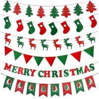 Home Decoration Merry Christmas Party Crafts Felt Banner Flag Customized Size Manufactures