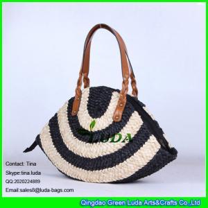 China LUDA brown leather handles straw  handbags stiped cornhusk lady straw bag on sale