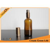 Amber Essential Oil Glass Bottles 100ml With Aluminum Sprayer , Empty Glass Oil Bottles Manufactures