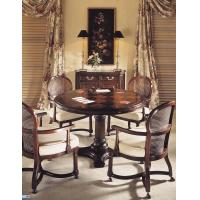 China Wood Mahogany Round Restaurant Hotel Dining Table With Chair on sale