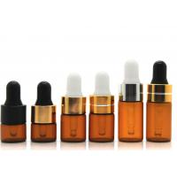 China Round Dropper 1ml Cosmetic Glass Bottles With Glass Pipette For Essential Oil on sale