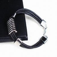 Buy cheap Fashionable Black Leather Bracelet with Thick Alloy Plating, White K/Silver from wholesalers