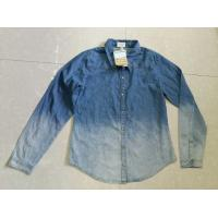 Cheap unisex gradients color full sleeve denim shirts blouse tops stock lots