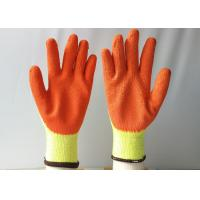 10 Gauge Latex Coated Gloves Yellow Cotton / Polyester Knitted For Construction Manufactures