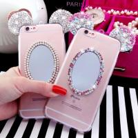Crystal Bling Cell Phones Covers Cases With  Mirror Mickey Ear IPhone 7 / Plus Manufactures