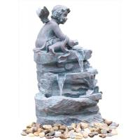 Angel On Rock Waterfall Resin Garden Fountains with LED Light Anchor Falls Cascading Manufactures