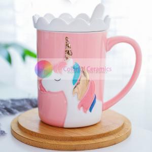 wholesale 370ml ceramic mug with lid dolomite household cute coffee mugs breakfast ware unicorn mug coffee cups milk mug Manufactures